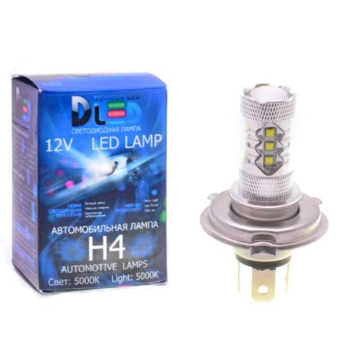 Автомобильная светодиодная лампа H4 - 16 CREE + Линза